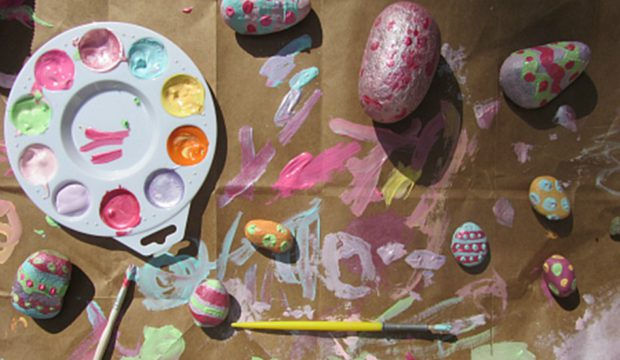 Easter egg rock painting