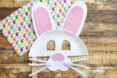 Paper plate bunny masks